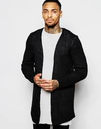 Mens Open Cardigan Asos Open Front Cardigan With Side Zips In Gray For Men Lyst