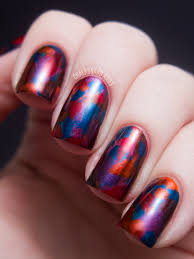 jewel tone abstract brush strokes opi germany nail art