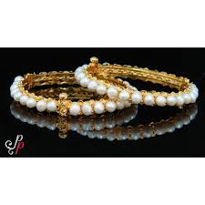gold pearl bangle bracelet images Pearl bangles traditional pearl bangles with golden base jpg