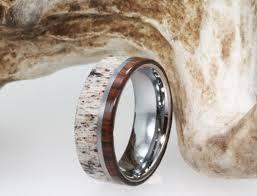 deer antler wedding band titanium ring inlaid with ironwood and deer antler wedding band