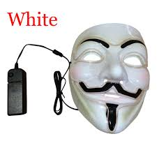 9 Color Light Up Led Guy Fawkes For Vendetta Mask El Wire Mask Edm