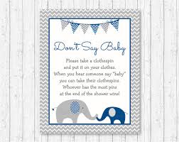 clothespin baby shower navy gray elephant don t say baby elephant baby shower