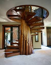 unique wood spiral staircase u2014 railing stairs and kitchen design