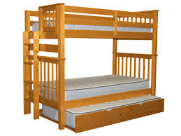 Solid Wood Bunk Beds With Trundle by Bedz King Mission Tall Twin Over Twin Bunk Bed With Trundle