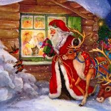 download wallpaper 2732x2732 santa claus reindeer window kids