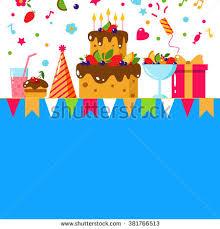 set happy birthday template card flat stock vector 386725402