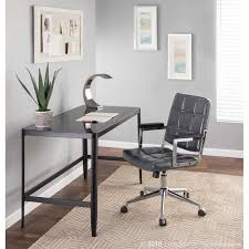 bureau chrome bureau contemporary office chair with chrome metal and grey faux leather