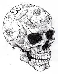 skull girly skull pencil and in color skull girly skull