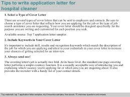 Resume Sample For Cleaner hospital cleaner application letter