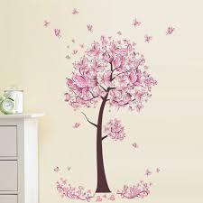 pink flower butterfly tree wall sticker decal girls art bedroom pink flower butterfly tree wall sticker decal girls art bedroom home decor us 5 97