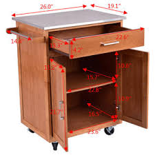 stainless steel top kitchen cart goplus wood kitchen trolley cart stainless steel top rolling storage