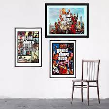 poster chambre gta 5 san andreas vice city vintage toile imprimer peinture
