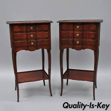 Cherry Wood Nightstands Pair Country Small Cherry Wood Nightstands Side Tables By