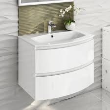 700mm modern white vanity unit curved bathroom furniture sink