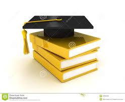 graduation books black graduation cap on pile of books white stock