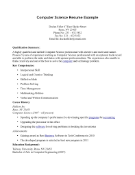 resume exle for best resume for computer science majors sales computer science