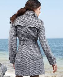kenneth cole reaction coat patterned wool blend trench coat
