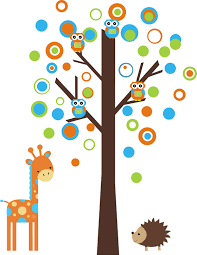 tree wall decal with giraffe hedgehog and owls nursery wall items similar to bright color circles tree boy nursery wall decal wall sticker removable and reusable on etsy