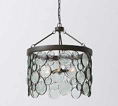Chandeliers Lighting Fixtures Emery Indoor Outdoor Recycled Glass Chandelier Pottery Barn