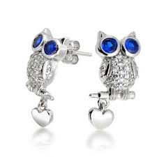 owl stud earrings blue sapphire color cz owl stud earrings