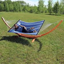 sunnydaze decor solid wood curved arc polyester hammock with stand