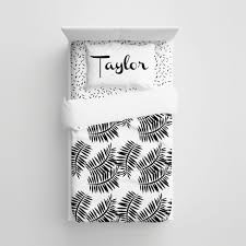 Personalized Comforter Set Black And Fern Minimalist Kids Bedding Personalized Bedding Set