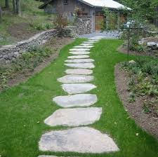 large stones laid over grass form a casual comfortable walkway