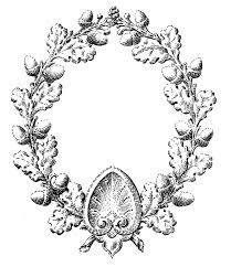 vintage fall clip art oak leaf and acorn wreath the graphics fairy