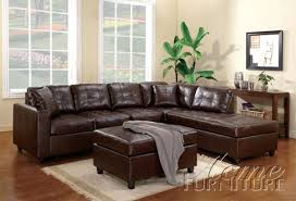 bonded leather sectional sofa beautiful leather sectional sofa chaise acme furniture milano brown