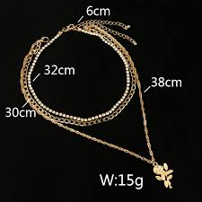 crystal choker necklace set images New fashion bohemia jewelry crystal choker rose flower layered jpg