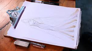 how to draw a wedding dress fashion sketching youtube