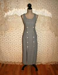 80 u0027s women jumper dress petite navy blue plaid empire waist casual