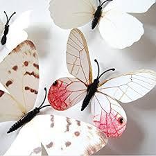 amazon com nykkola white 24pcs 3d butterfly wall stickers decor