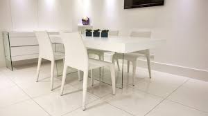 White Dining Table And Coloured Chairs Modern White Oak Dining Table Glass Legs Coloured Faux Leather