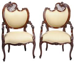 Victorian Armchairs Niagara Furniture Pair Fireside Chairs French Fireside Chairs