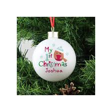 personalised my first christmas robin ceramic round bauble from