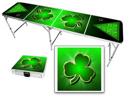 irish shamrock 8 foot portable folding tailgate table