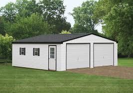 White House With Black Trim 24 U0027x24 U0027 Double Wide Garage Glick Structures