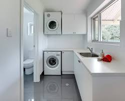 laundry room in bathroom laundry room contemporary with gray floor