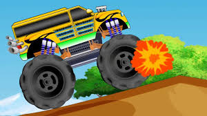 monster trucks videos for kids for toddler police car transport kids buses teaching colors