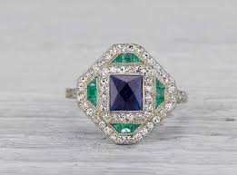 sapphire emerald rings images Art deco sapphire and emerald ring erstwhile jewelry jpg