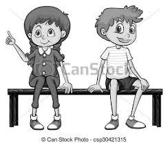 clipart vector of black and white sketch of a sitting on a