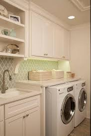 Laundry Room With Gray Arabesque Tile Backsplash Transitional - Utility sink backsplash