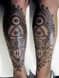 mens leg with anchors and cool shading leg tattoos for