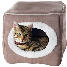 small pet beds petmaker cozy cave enclosed cube pet bed light coffee walmart com