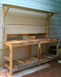 diy pallet work table pallets potting bench outdoor craft space cooking stating