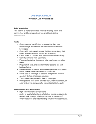 Job Description For Waitress For Resume by Waitress Duties And Responsibilities Resume