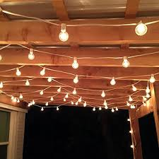 Patio Cafe Lights by 100 Foot G40 Globe Patio String Lights With Clear Bulbs For