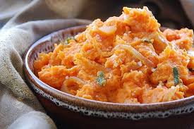olive caramelized and mashed sweet potatoes