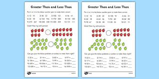 greater than and less than worksheets differentiated greater